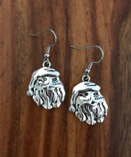 Resell for 6.00 or more Pewter Santa face  Surgical steel ear wires Style #SCFE090418