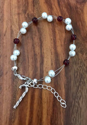 "Resell for 15.00 or more 7.5"" plus ext chain floating bracelet White pearls red glass / pewter candy cane  Christmas bracelet Made by Ashley Style #CCFB090418"