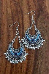"Resell for 27.00 or more 3"" x 1 1/4"" Boho chic earrings Pewter/ enamel / blue  Surgical steel ear wires Style #BEBCE090518"