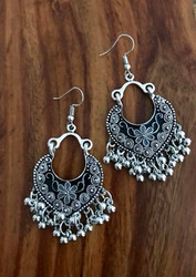 "Resell for 27.00 or more 2 3/4"" long Pewter w enamel black/grey Surgical steel ear wires  Boho chic earrings Style #BCFBGE090518"