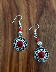 "Resell for 18.00 or more Pewter w red enamel 2"" drop Surgical steel ear wires Boho chic earrings Style #REBCE090518"