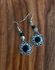 "Resell for 18.00 or more Pewter w black enamel 2"" drop Surgical steel ear wires Style #BBCE090518"