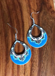 Resell for 18.00 or more Pewter enamel boho chic earrings Surgical steel ear wires Style #BCTCOE090618