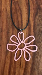 "Resell for 12.00 or more 20"" woven  black cord w ext chain Pink boho flower pendant pink 2"" x 2"" Style #PFBCN090618"