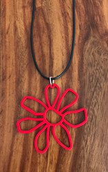 "Resell for 12.00 or more 20"" woven  black cord w ext chain Pink boho flower pendant red  2"" x 2"" Style #BCRFN090618"