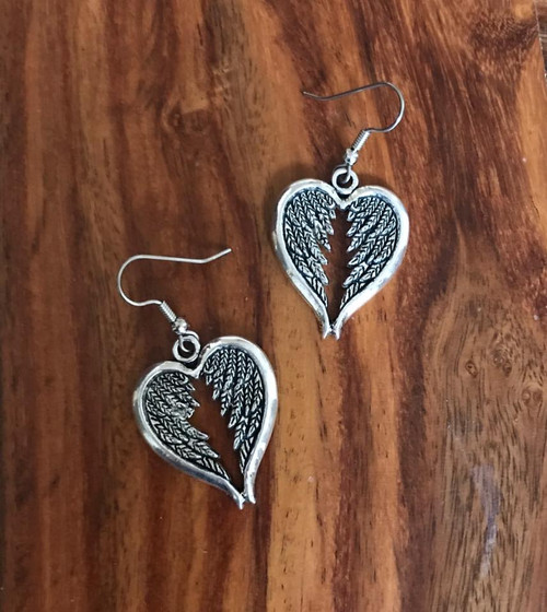 Resell for 9.00 or more Pewter heart angel wings  Surgical steel ear wires Style #WHE091118