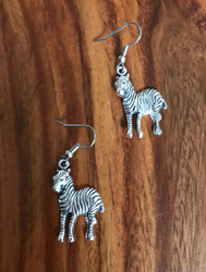 Resell for 6.00 or more Pewter zebra  Surgical steel ear wires Style #ZE091318