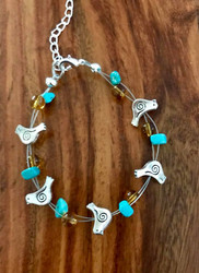 Resell for 18.00 or more 7.5 inch plus ext floating bracelet  Pewter bird/ turquoise / amber glass Style #TGBFB091418