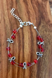 Resell for 21.00 or more (1.00 is donated) 7.5 inch plus ext floating bracelet  Pewter awareness ribbon / red glass Made by Ashley  Style #RARB091418