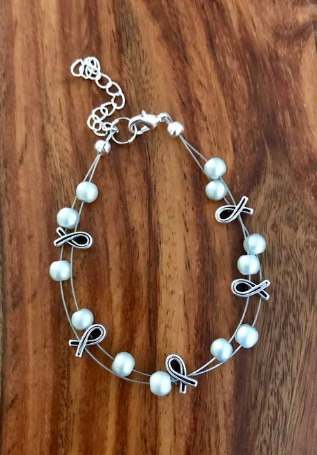 Resell for 21.00 or more (1.00 is donated) 7.5 inch plus ext floating bracelet  Pewter awareness ribbon / grey glass Style #GGARB091418