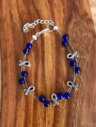 Resell for 21.00 or more (1.00 is donated) 7.5 inch plus ext floating bracelet  Pewter awareness ribbon / blue glass Style #BLGARB091418