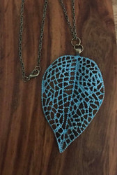 "Resell for 12.00 or more 24"" antiqued brass chain Patina leaf pendant 3x2"" Style #PLN091418"