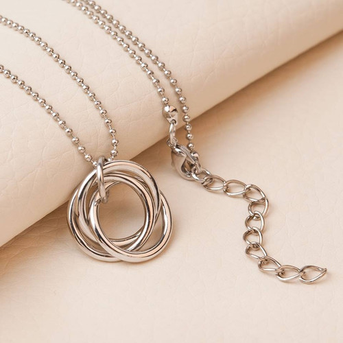 """resell for 9.00 or more Ring Necklace Silver Tone Circle Ring 46cm(18 1/8"""") long, plus ext Style #TLBCN091518"""