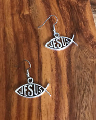 Resell for 6.00 or more Pewter Jesus fish ichthus  Surgical steel ear wires Style #JFIE091818