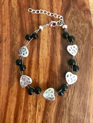 "Resell for 18.00 or more 7.5"" floating bracelet w ext chain Black glass pewter paw print heart Made by Ashley Style #BGPPFB092418"