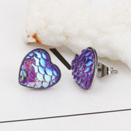 """resell for 9.00 or more Stainless Steel & Resin Mermaid Fish/ Dragon Scale Ear Post Stud Earrings Silver Tone Purple Heart AB Color 13mm( 4/8"""") x 13mm( 4/8"""") Style #PMHE100118"""