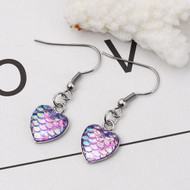 "resell for 9.00 or more Stainless Steel & Resin Mermaid Fish/ Dragon Scale Earrings Silver Tone Purple Heart AB Color 39mm(1 4/8"") x 13mm( 4/8"") Style #LPHDE100118"