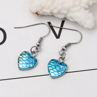 """resell for 9.00 or more Stainless Steel & Resin Mermaid Fish/ Dragon Scale Earrings Silver Tone Green Blue Heart AB Color 39mm(1 4/8"""") x 13mm( 4/8"""") Style #BMSDE100118"""