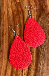 "Resell for 18.00 or more Red leatherette 2 1/4"" x 1 1/2"" Surgical steel ear wires Style #RLTE100118"
