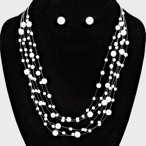 "resell for 36.00 or more • Color : Silver, White • Theme : Pearl  • Necklace Size : 16"" + 4"" L • Decor Size : 1 1/2"" L • Earrings Size : 3/8"" L Pearl Floating layered necklace Style #MSPFN100218"
