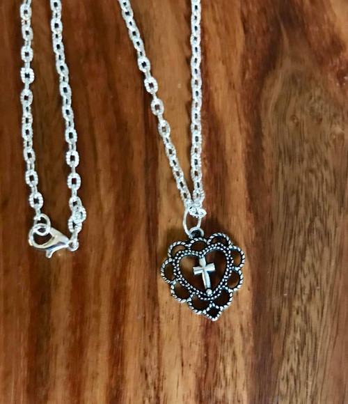 """Resell for 12.00 or more Pewter heart cross 7/8"""" x 3/4"""" 20"""" silver tone chain Style #OHCN100218"""