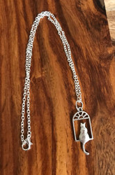 Resell for 9.00 or more Pewter kitty in window 16 inch silver tone chain Style #KWN100218