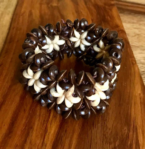 """Resell for 9.00 or more 7 inch stretch bracelet  1 1/4"""" wide Two tone wood Style #TTWSBSE100518"""