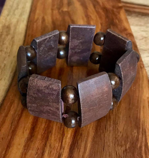 """Resell for 9.00 or more 7 inch stretch bracelet  1 1/2"""" wide Two tone wood Style #TTWSBSG100518"""