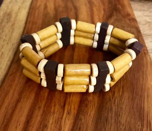 "Resell for 9.00 or more 7 inch stretch bracelet  1"" wide Three tone wood Style #TTWSBSH100518"