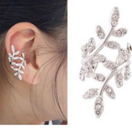 "resell for 12.00 or more Ear Cuffs Clip Wrap Earrings Leaf Silver Plated Clear Rhinestone 33mm(1 2/8"") x 15mm( 5/8"") Style #CLEC100518"