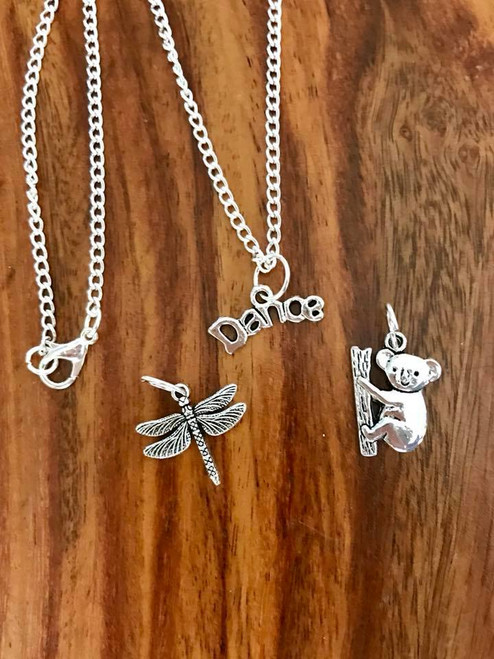 """Resell for 18.00 or more Little girl set 5  16"""" silver tone chain  Pewter dance, koala and dragonfly Style #LGNS5100518"""