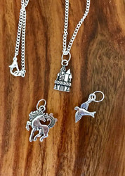 "Resell for 18.00 or more Little girl set 4 16"" silver tone chain  Pewter sand castle, horse and bird Style #LGNS4100518"
