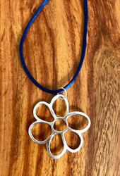 "Resell for 12.00 or more 20"" royal blue cord plus extender chain Silver tone boho flower 1 1/2 x 1 1/2"" Style #CBBFN100518"