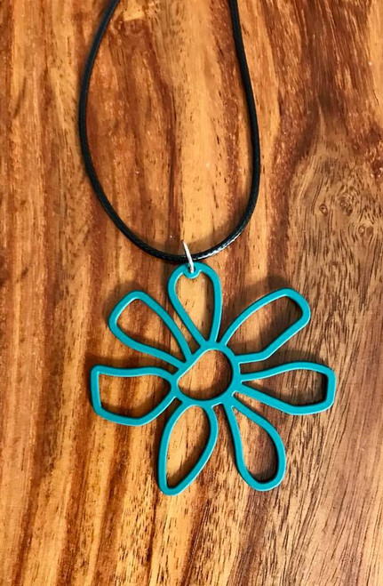 """Resell for 12.00 or more 20 inch black cord w ext chain  Emerald green boho flower pendant 2 1/4 x 2"""" Style #EGBFN100518"""