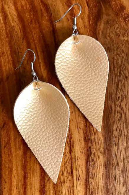 "Resell for 18.00 or more Gold leatherette leaf earrings 2 1/4 x 1 1/4"" Surgical steel ear wires Style #GLLE100518"
