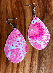 "Pink Sparkly leatherette earrings 2 1/4 x 1 1/2"" Surgical steel ear wires Style #PSLE101118 https://sedaliadesigns.com/pink-sparkly-leatherette-earrings/"