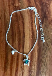 """Resell for 18.00 or more • Color : Abalone, Silver tone • Theme : Animal, Sea Life, Turtle  • Decor Size : 0.5"""" H • Total Size : 9"""" + 2"""" L  • Abalone Turtle Pearl Charm Anklet Style #ATPA101718"""
