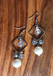 """Resell for 24.00 or more 3"""" long 1"""" wide Rhodium coated/ clear green ab glass faceted/ off white pearl Style #FCPDE101718"""
