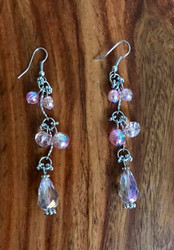 """Resell for 24.00 or more 3 1/4"""" long Rhodium coated/ pink ab glass faceted Style #PABDE101718"""