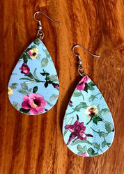 """Resell for 18.00 or more Lt Blue pink green floral  leatherette earrings 2 2/8 x 1 3/8"""" Surgical steel ear wires Style #LBFLE102018"""