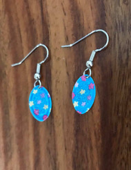 """Resell for 9.00 or more Enamel laser lace charm 5/8"""" x 3/8"""" Blue w flowers Surgical steel ear wires Style #BFOD102018"""