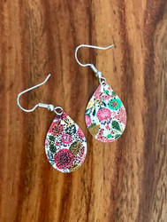 """Resell for 12.00 or more Laser lace enamel floral pear 1"""" x 5/8"""" Surgical steel ear wires Style #EFPE102018"""