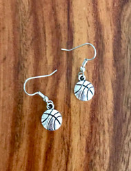 """Resell for 6.00 or more Pewter Basketball 1/2"""" x 3/8"""" Surgical steel ear wires Style #PBE102018"""