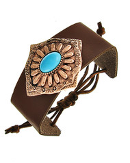"""resell for 24.00 or more Burnished Copper Tone / Brown Leatherette / Turquoise Stone / Lead Compliant / Adjustable / Bracelet / •   SIZE FREE : ADJUSTABLE •   LENGTH : MAX: 10 1/2"""" •   WIDTH : 1 1/2"""" •   TOP FACE : 2 3/8"""" X 2 1/8"""""""" DIA •   COOPER/BROWN  Style #CTMBLB102918"""
