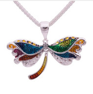 """resell for 18.00 or more 19 inch silver tone chain plus ext chain Plated pewter enameled dragonfly 2"""" x 1.5 """" Style #BEBN102918"""