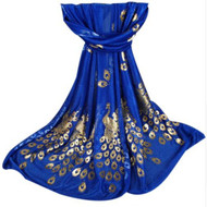 **This purchase will also donate 1 scarf with earrings to a cancer patient** *search scarves to see all we have available. 3 available 12.00 resell for 36.00 or more 53x68 inches Royal Blue/ Gold Foil/ Peacock Design/ Polyester. Style #RBPS103018