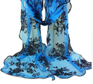 """**This purchase will also donate 1 scarf with earrings to a cancer patient** *search scarves to see all we have available.  resell for 45.00 or more 15x80"""" Polyester Chiffon Spandex Bright Blue, Black, Gold Style #BBBGFS103018"""