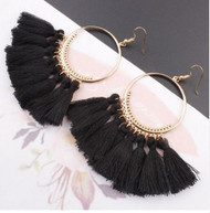 resell for 15.00 or more  Boho black tassel gold tone earrings Style #BBTE103118