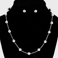 """resell for 15.00 or more • Color : Silver  • Pearl Station Necklace • Necklace : 17"""" L • Decor : 1/4"""" L • Earrings : 1/4"""" L Style #STBNS110118"""