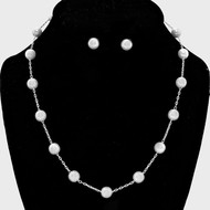 """resell for 15.00 or more • Color : White, Silver  • Pearl Station Necklace • Necklace : 17"""" L • Decor : 1/4"""" L • Earrings : 1/4"""" L Style #WPCNS110118"""